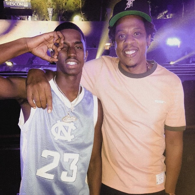 Christian Casey Combs (Left) as seen while posing for the camera alongside Jay-Z in September 2018