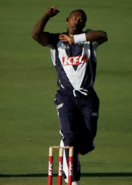 Dwayne Bravo during a match as seen in January 2010
