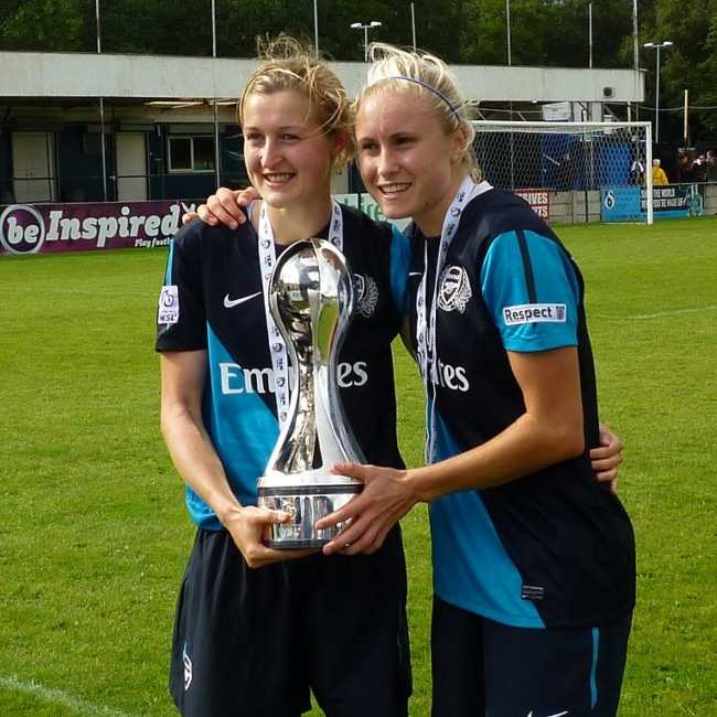 Ellen White and Steph Houghton holding the FA WSL trophy in 2011