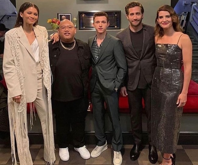 From Left to Right - Zendaya, Jacob Batalon, Tom Holland, Jake Gyllenhaal, and Cobie Smulders as seen while posing for the camera in May 2019