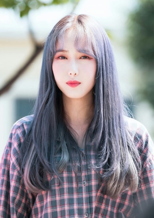 Hwang Eun-bi (SinB) as seen in a picture taken at Music Center Mini Fanmeeting in July 2018