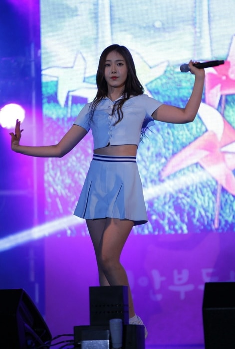 Hwang Eun-bi (SinB) as seen in a picture taken during an event in October 2015