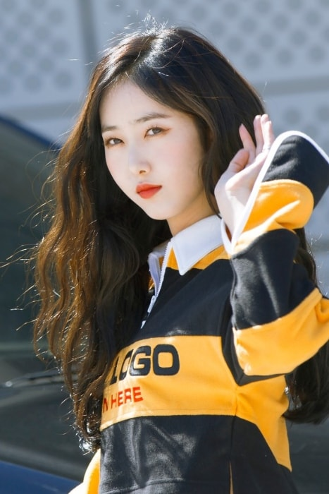 Hwang Eun-bi (SinB) as seen in a picture taken in October 2018