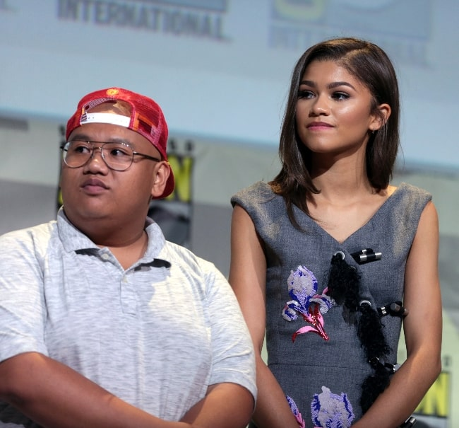 Jacob Batalon as seen alongside Zendaya as they spoke at the 2016 San Diego Comic Con International, for 'Spider-Man Homecoming', at the San Diego Convention Center in San Diego, California, United States