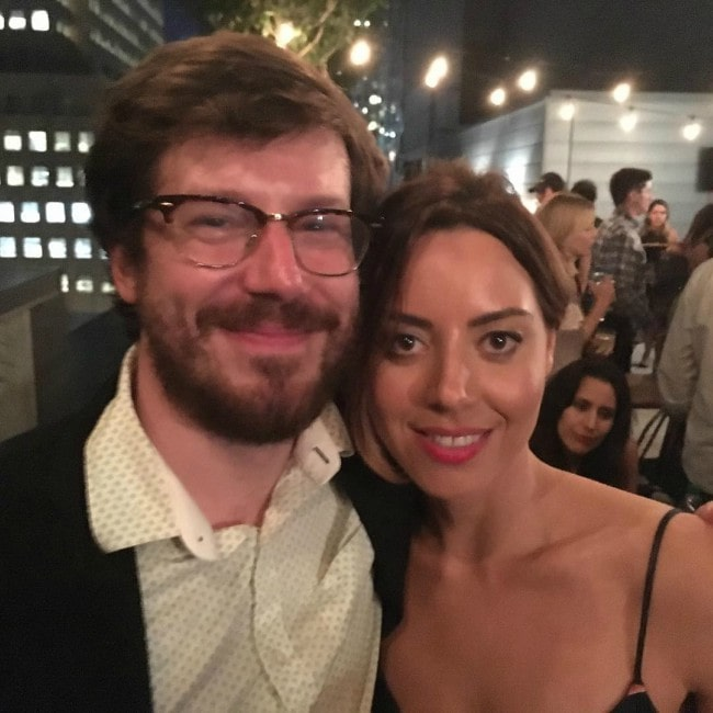 John Gallagher Jr. and Aubrey Plaza as seen in August 2017