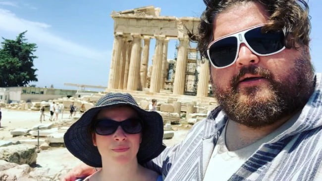 Jorge Garcia and Rebecca Birdsall in a selfie in July 2019