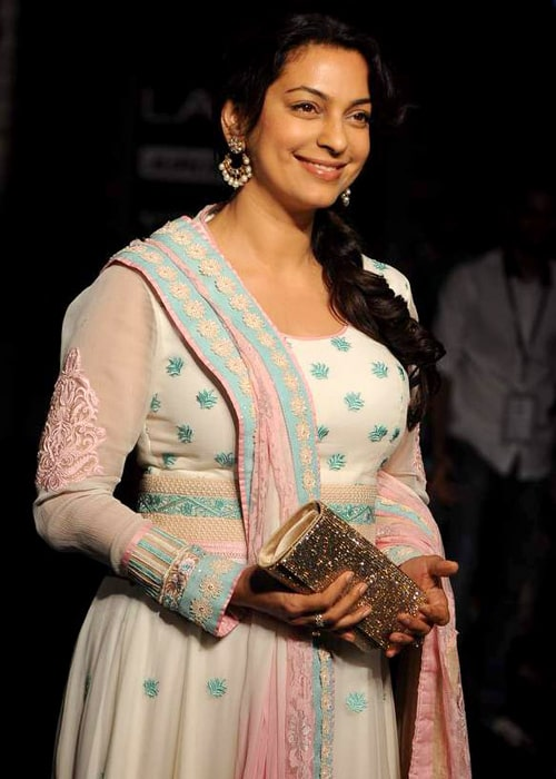 Juhi Chawla as seen in a picture taken at the Lakme Fashion Week 2012 at Hotel Grand Hyatt, Mumbai, where she walked the ramp representing designer Neeta Lulla