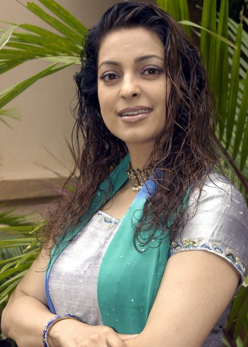 Juhi Chawla as seen in a picture taken during the press conference for Bas Ek Pal (2006)
