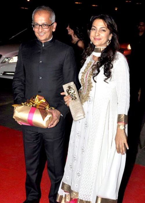 Juhi Chawla as seen in a picture with her husband Jay Mehta at Karan Johar's 40th birthday bash, held in Taj Lands End, Mumbai in May 2012