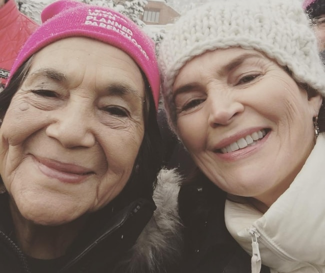 Julia Ormond (Right) as seen in a picture along with the American labor leader and civil rights activist, Dolores Huerta, at Main St. Park City in Summit County, Utah, United States in January 2017