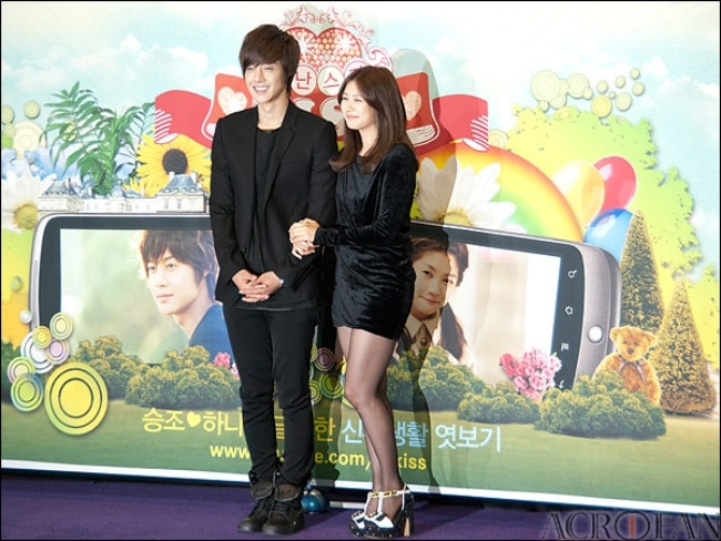 Kim Hyun-joong as seen with Jung So-Min at Playful Kiss YouTube Special Edition Presentation in November 2010