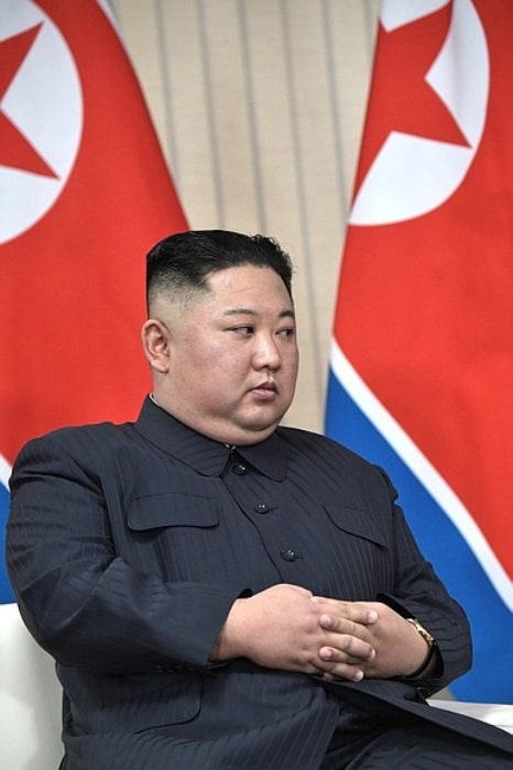 Kim Jong-un as seen during a conference in April 2019