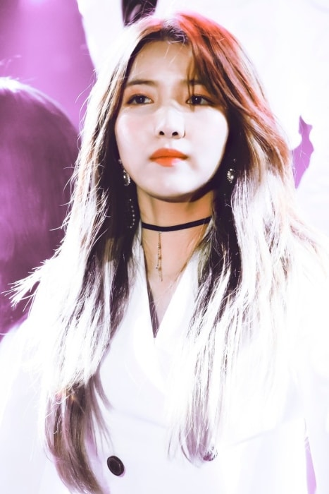 Kim So-jung (Sowon) as seen in a picture taken during an event in November 2018