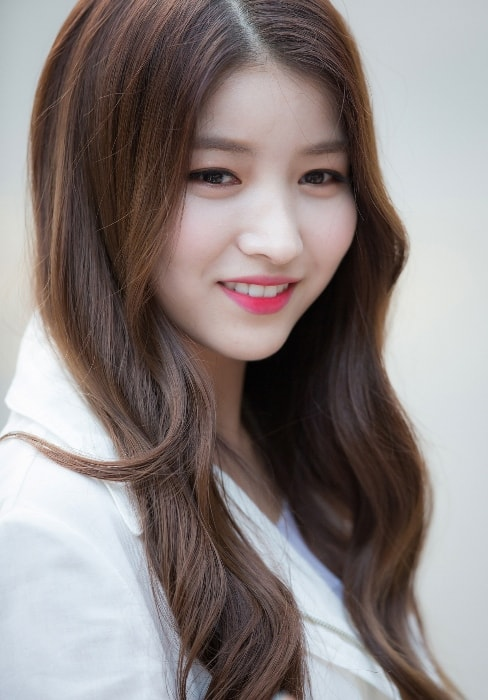 Kim So-jung (Sowon) as seen while smiling in a picture in June 2017