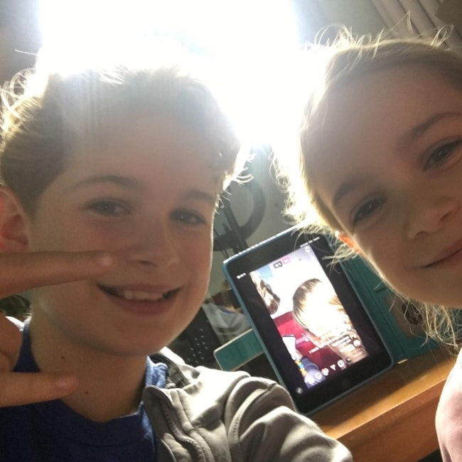 Leo Mills as seen while taking a selfie alongside his younger sister, Tilly Mills, in February 2019
