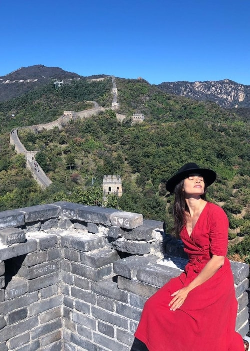Mía Maestro as seen while posing for a picture at the Great Wall of China in Beijing, China in October 2018