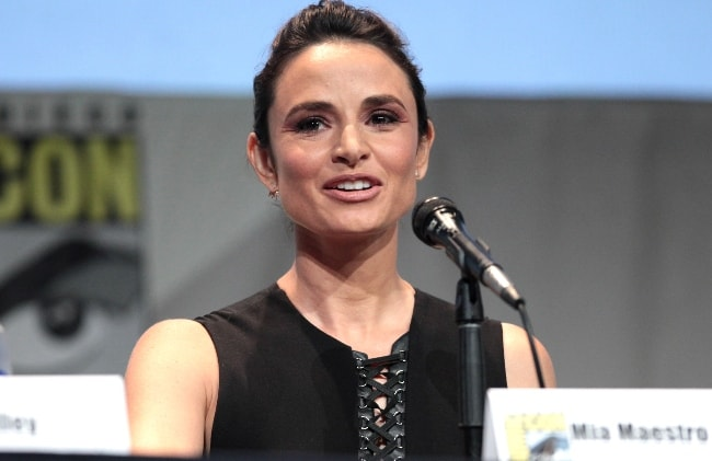 Mía Maestro as seen while speaking at the 2015 San Diego Comic Con International, for 'The Strain', at the San Diego Convention Center in San Diego, California, United States