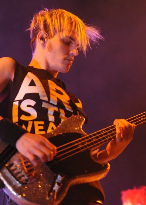 Mikey Way during a performance in August 2011