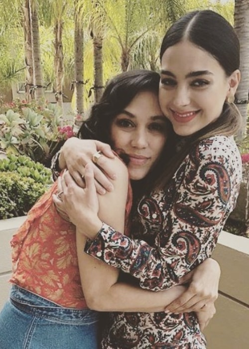 Mishel Prada (Left) as seen while hugging Melissa Barrera at the Four Seasons Hotel Los Angeles at Beverly Hills, California, United States in April 2018