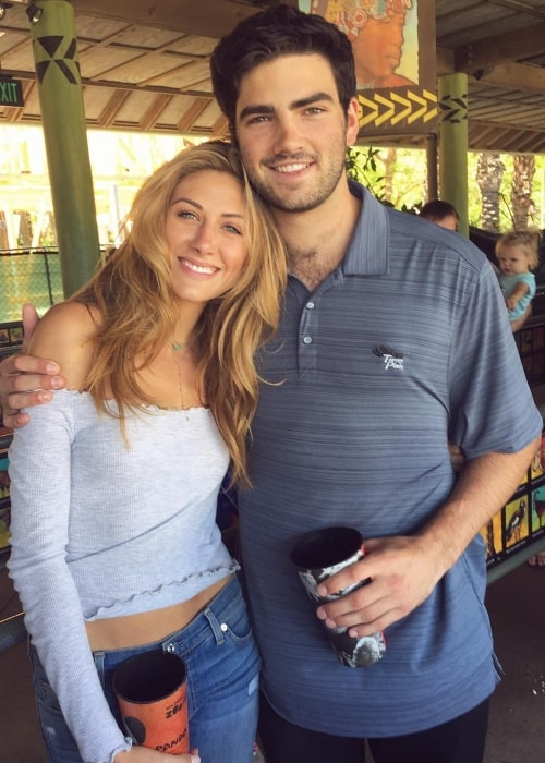 Perry Mattfeld as seen while posing for a picture alongside Andrew Wright at San Diego Zoo Safari Park in San Diego, California, United States in May 2017
