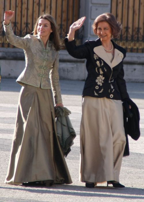 Queen Sofia and Princess Letizia at the Royal Palace of Madrid in 2009