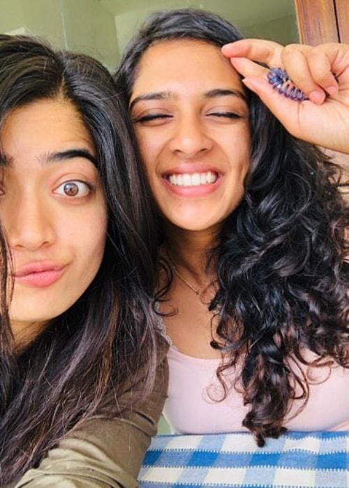 Rashmika Mandanna as seen in a selfie taken with her close buddy Raagini Muddaiah in January 2019