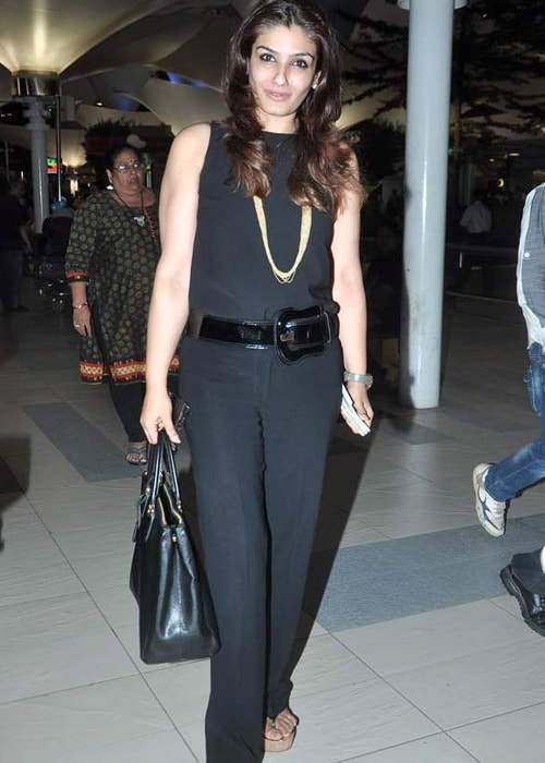 Raveena Tandon as seen in a picture taken upon her return from the returns from IIFA 2012 in June that year