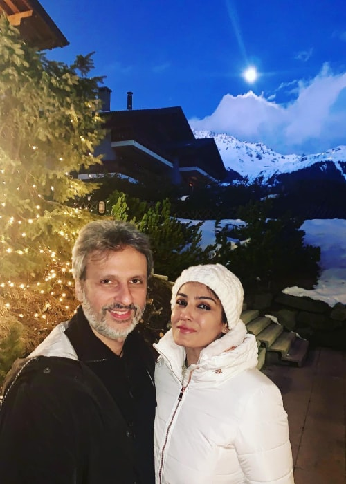 Raveena Tandon as seen in a picture taken with her husband Anil Thadani in March 2019