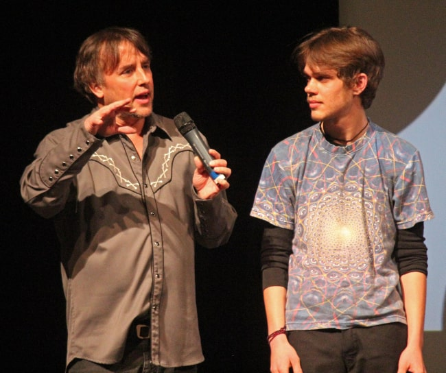 Richard Linklater and Ellar Coltrane in January 2013