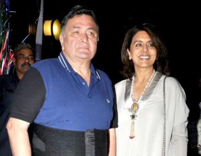 Rishi Kapoor as seen with Neetu Singh at Rakesh Roshan's birthday party in September 2017