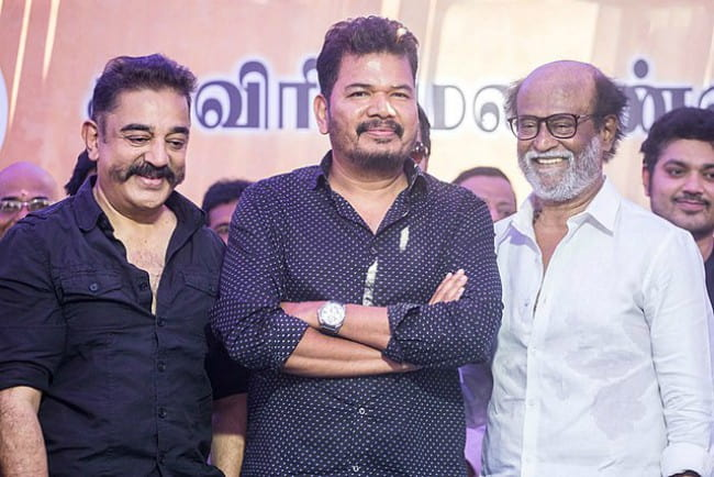 S. Shankar (Center), Rajinikanth (Right), and Kamal Haasan (Left) as seen in April 2018