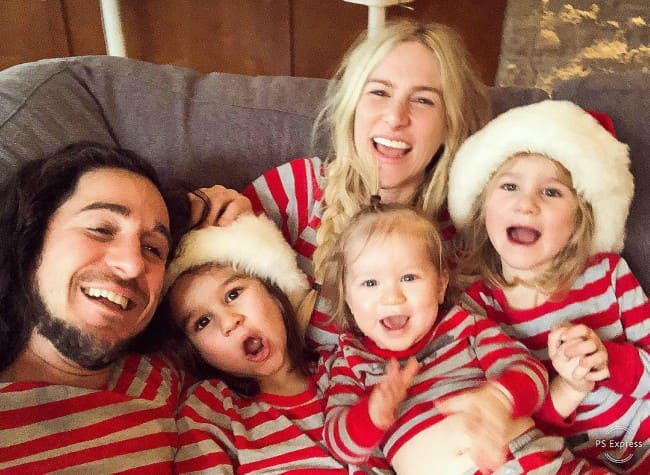 Sarah Blackwood with her family as seen in February 2019