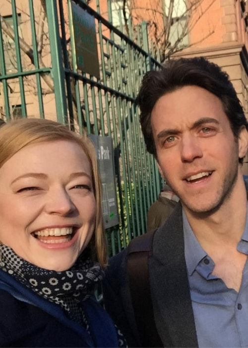 Sarah Snook as seen in a selfie taken in New York City, New York with actor Ashley Zukerman in March 2019
