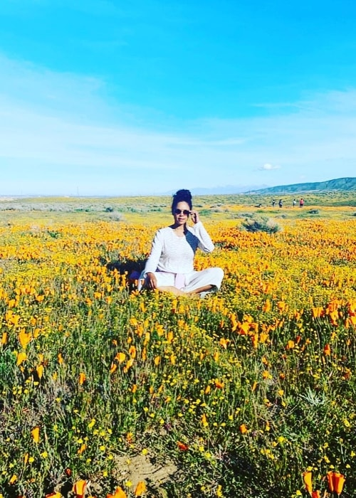 Sharon Leal as seen while posing for a picture at Antelope Valley California Poppy Reserve located in Los Angeles County, California‎, United States in April 2019