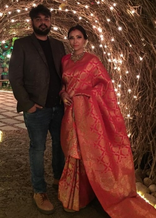 Shweta Basu Prasad as seen in a picture taken with her husband Rohit Mittal in December 2018