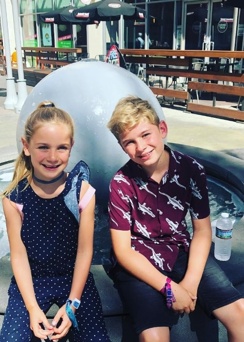 Tilly Mills as seen while posing for a picture along with her older brother, Leo Mills, in Burbank, Los Angeles County, California, United States in August 2018