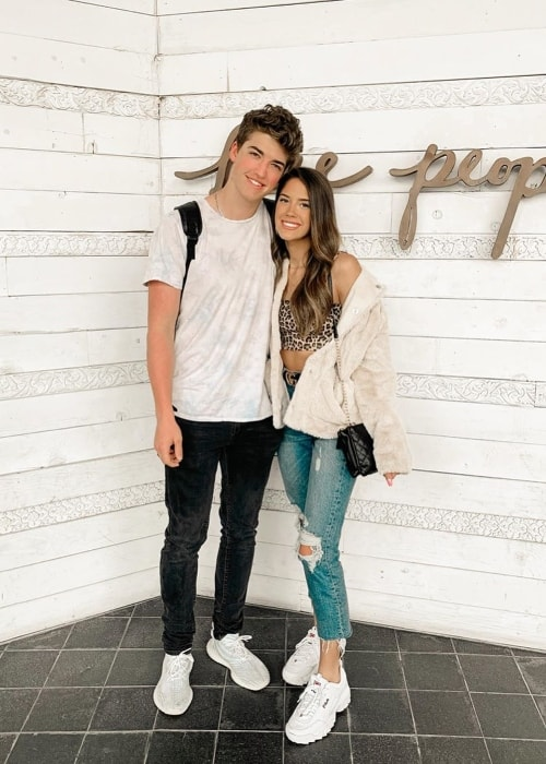 Victoria Bachlet as seen while posing for the camera alongside Joey Klaasen in Los Angeles, California, United States in July 2019