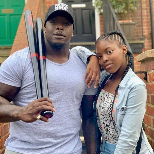 Adebayo Akinfenwa with his daughter as seen in August 2019