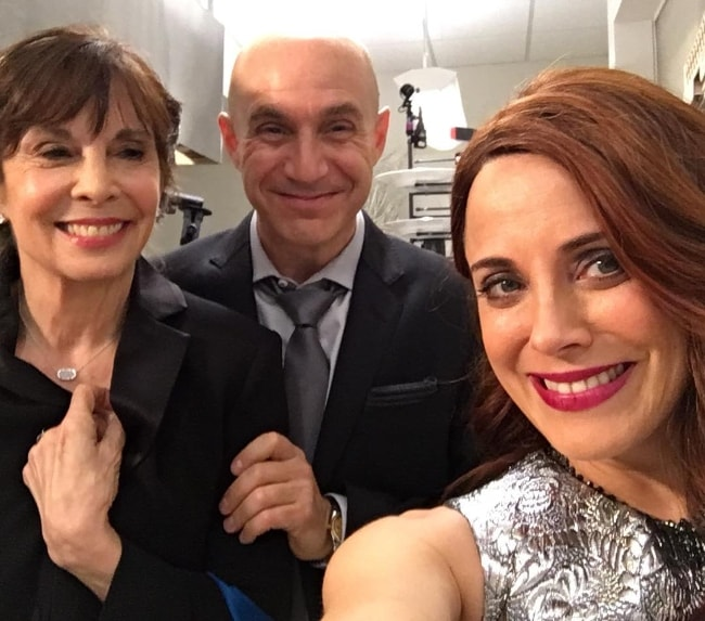 Alanna Ubach as seen while taking a selfie along with her co-actors, Brian Markinson and Talia Shire, in February 2017