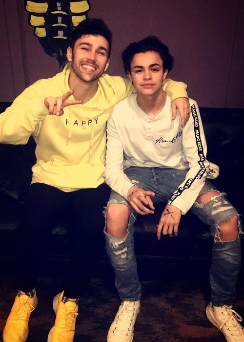Alessio Scalzotto (Right) as seen while posing for a picture along with singer, songwriter, and actor, Max Schneider, in April 2019