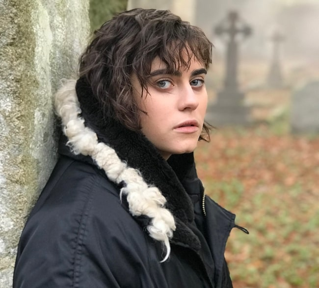 Ally Ioannides as seen while posing for a picture at Powerscourt Estate & Gardens in Enniskerry, County Wicklow, Ireland in January 2018