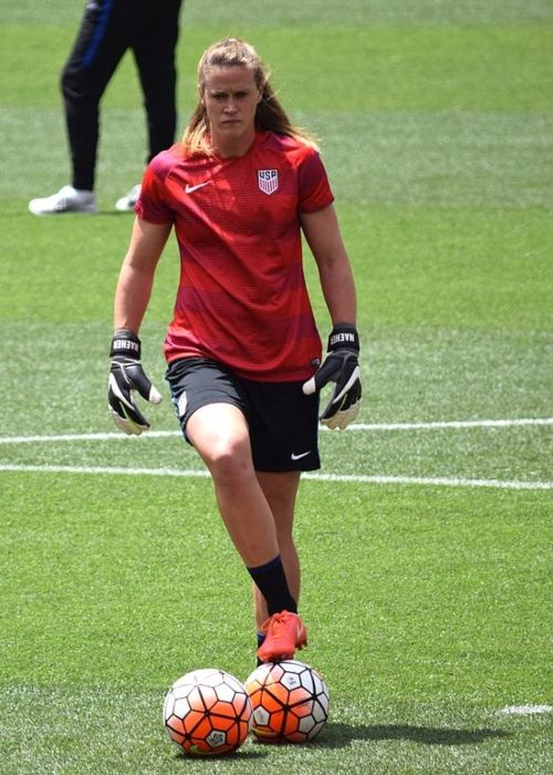 Alyssa Naeher before a match against Japan on June 5, 2016 in Cleveland, Ohio