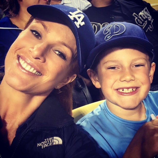 Angie Everhart as seen in a picture with her son kayden Bobby Everhart in June 2018