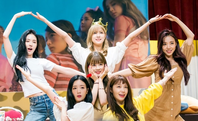 Apink members as seen while posing for a picture at a fan signing in Sangam, Seoul, South Korea in July 2018