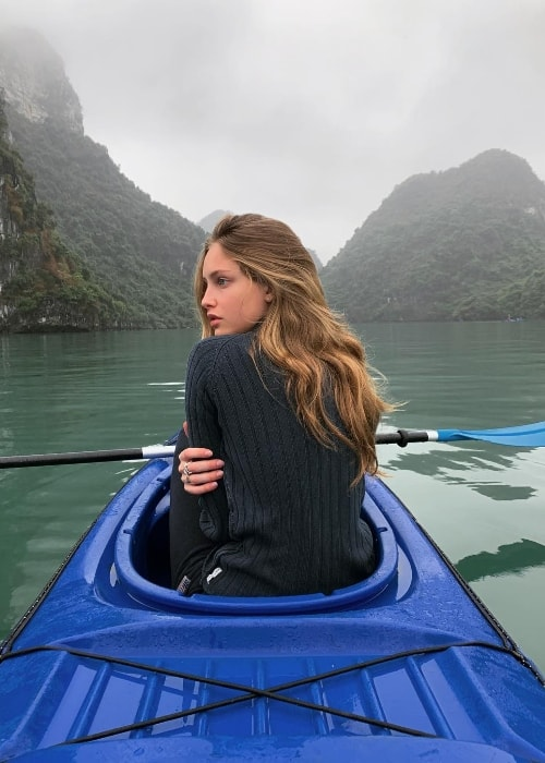 Beatrice Vendramin as seen while posing for the camera in Hạ Long Bay, Quảng Ninh Province, Vietnam in January 2019