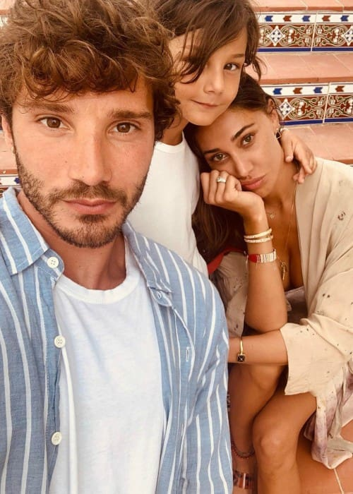 Belen Rodriguez with her son and Stefano de Martino as seen in August 2019