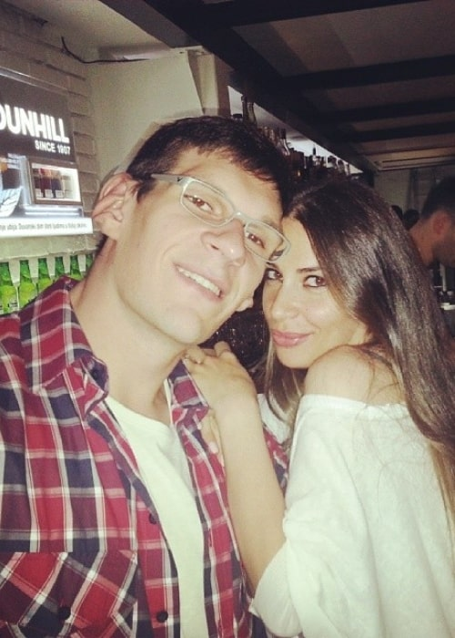 Boban Marjanović as seen in a picture with his wife Milica Krstić in May 2014