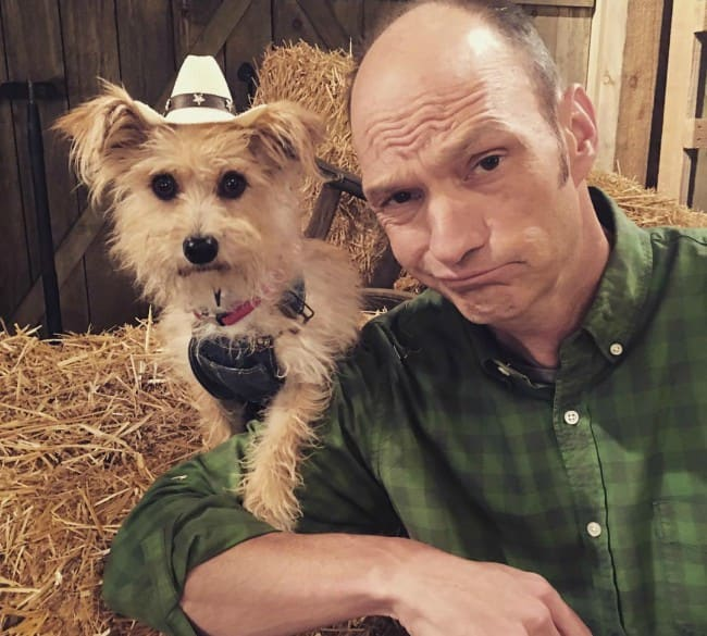 Brian Stepanek with his dog as seen in July 2017