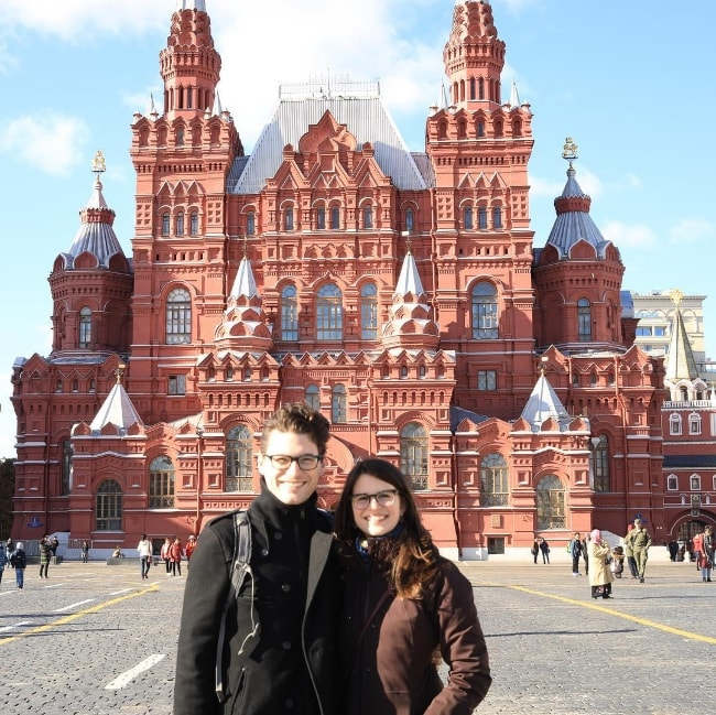 Bryan Dechart as seen while posing for a picture alongside Amelia Rose Blaire in Kremlin Moscow located in Russia in January 2019