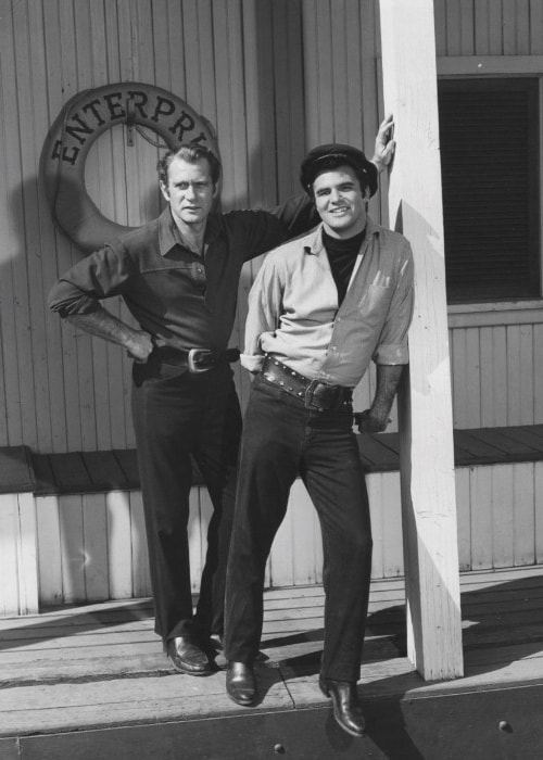 Burt Reynolds (Right) as seen while posing for a picture along with Darren McGavin on the set of 'Riverboat' in 1960